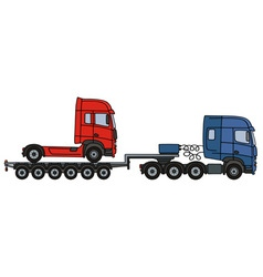 Red truck on a semitrailer vector