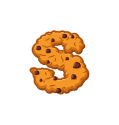 S letter cookies cookie font oatmeal biscuit vector