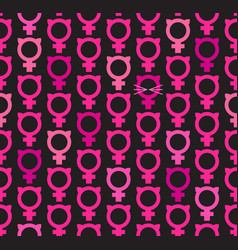 seamless pattern of female symbols with cat ears vector image