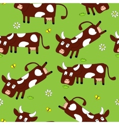Seamless pattern with cute cows vector