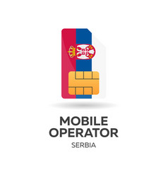 Serbia mobile operator sim card with flag vector