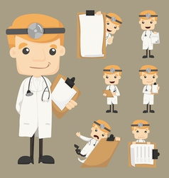 Set of doctor with notepad vector