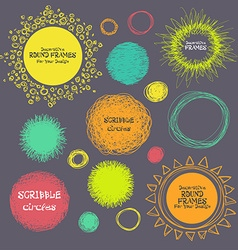 Set of hand-drawn scribble circles and decorative vector image