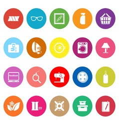 Sewing cloth related flat icons on white vector