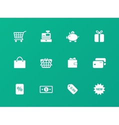 Shopping icons on green background vector image vector image