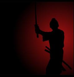 Silhouette of a samurai vector