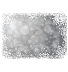 Silver christmas background with snowflakes vector