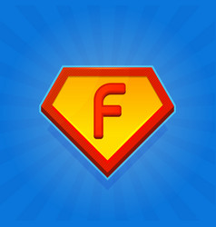 Superhero logo icon with letter f on blue vector