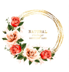 Vintage background with some pink roses vector image vector image
