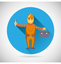 Worker repairer character with hammer toolbox icon vector