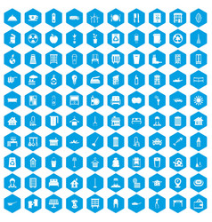 100 cleaning icons set blue vector