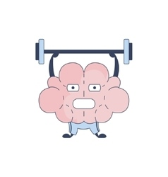 Brain in gym doing weight lifting comic character vector
