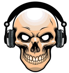 Skull wearing headphone vector
