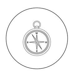 Compass icon in outline style isolated on white vector