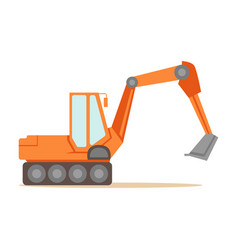 Large orange excavator machine part of roadworks vector