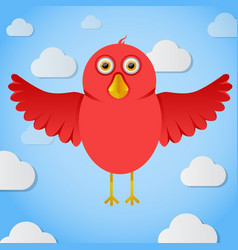 red cartoon birdin the sky vector image