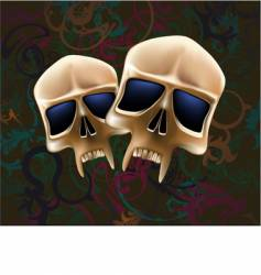 two skulls vector image