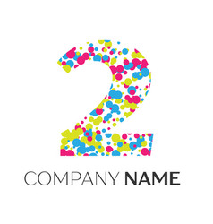 number two logo with blue yellow red particles vector image