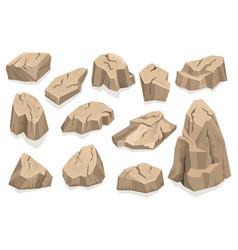 Rock stone set cartoon vector