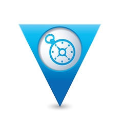 Compass icon on map pointer blue vector