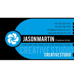 Creative blue business card vector