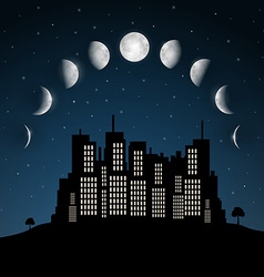 Moon phases above night city vector