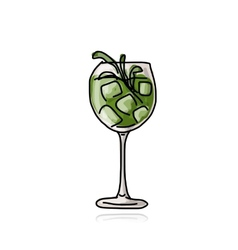 Green cocktail sketch for your design vector