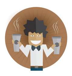 Waiter carrying two cups of coffee vector