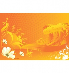 flowers with wave designs vector image