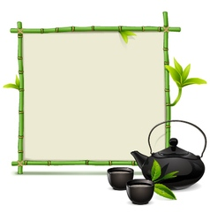 Bamboo frame with tea vector