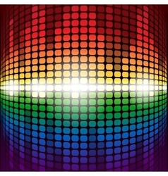 Shining rainbow digital equalizer with flares on vector