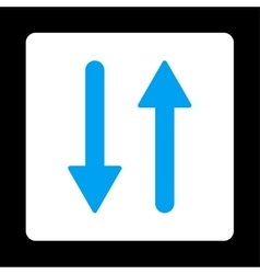 Arrows exchange vertical flat blue and white vector
