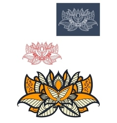 Oriental paisley flower with openwork petals vector
