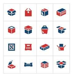 Set color icons of box vector