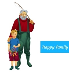 Happy family father and son fishing together vector