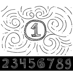 Hand drawn numbers with swirl pattern vector