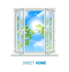 Open window sunny day realistic icon vector