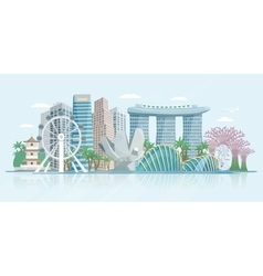 Singapore skyline flat panoramic view poster vector