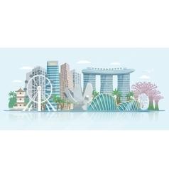 Singapore skyline flat panoramic view poster vector