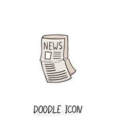 Doodle news icon newspaper symbol vector