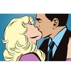 People in retro style pop-art Kissing couple vector image