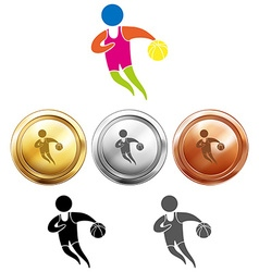 Basketball icon and sport medals vector image