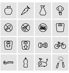 Line diet icon set vector