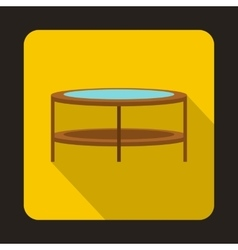 A round glass coffee table icon flat style vector image