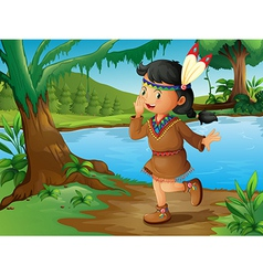 An indian girl in the forest vector
