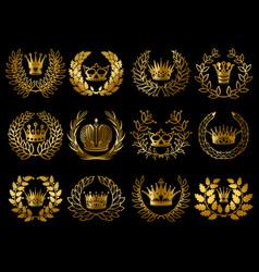 Beautiful gold wreathes set vector