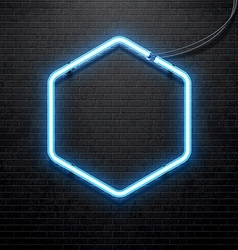 blue neon lamp isolated on black brick wall vector image vector image