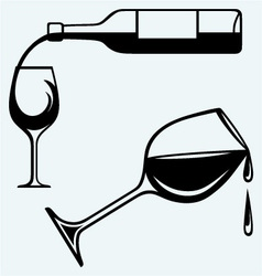 Bottle of wine and glasses vector image vector image