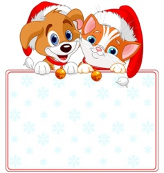 Christmas cat and dog sign vector
