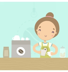 Cute girl barista preparing drink at the counter vector